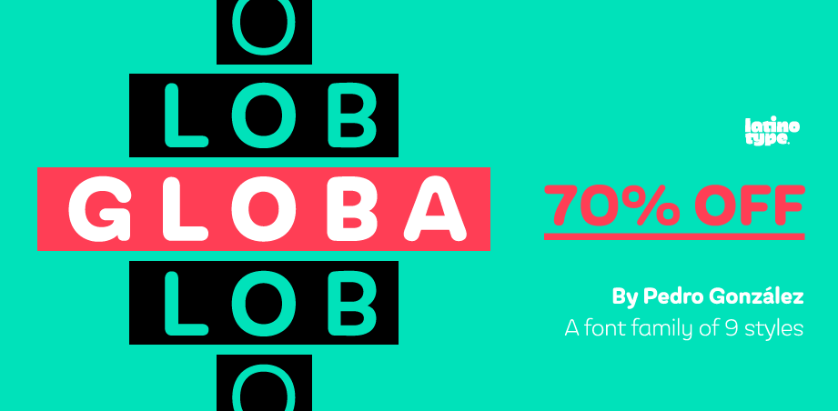 Globa, 70% off 9 new fonts!