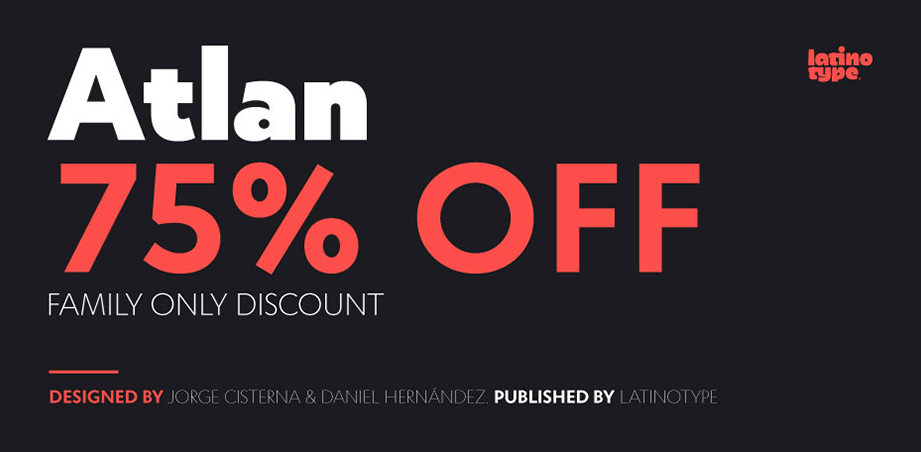 Atlan, 75% off 16 new fonts